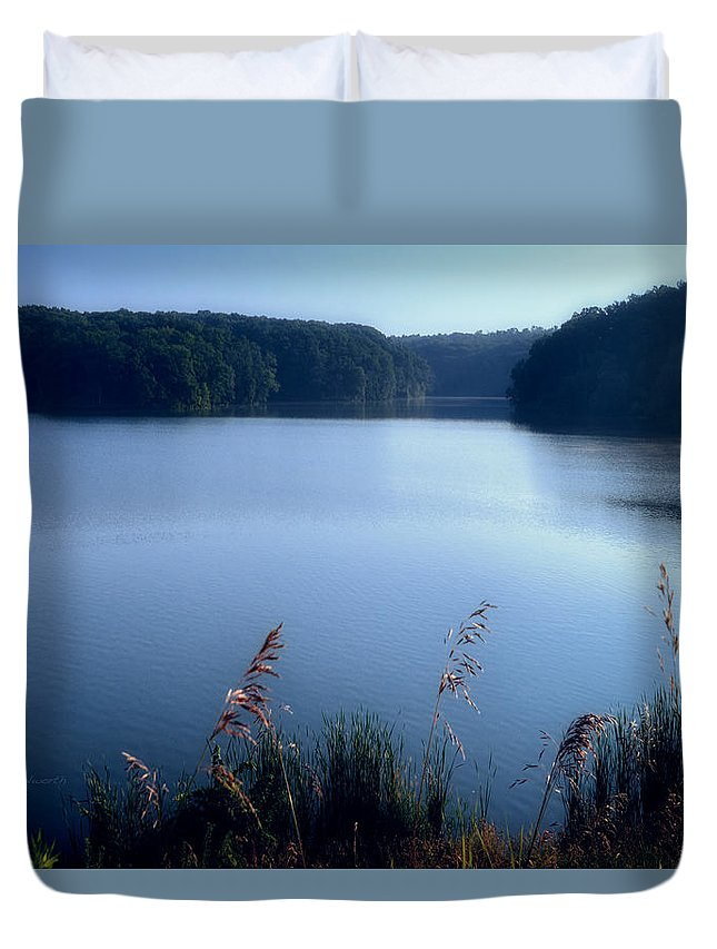 Cobalt Duvet Cover featuring the photograph A Cobalt Morning by Thomas Woolworth