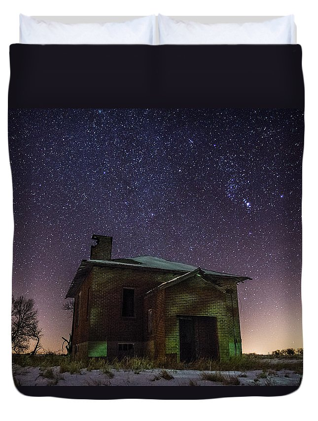 Dark Places Duvet Cover featuring the photograph A Cold Dark Place by Aaron J Groen