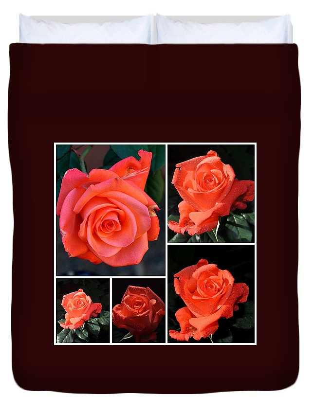 Flowers Duvet Cover featuring the photograph A Collage Of Pink by Jay Milo