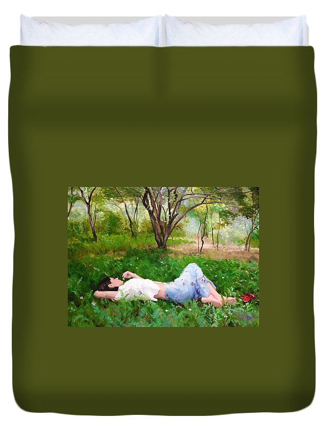 Landscape Duvet Cover featuring the painting A Comfortable Patch by Scott Harding
