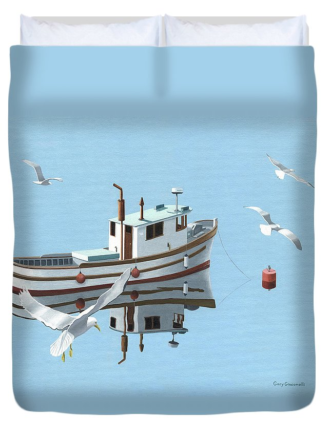 Boat Duvet Cover featuring the painting A Contemplation Of Seagulls by Gary Giacomelli