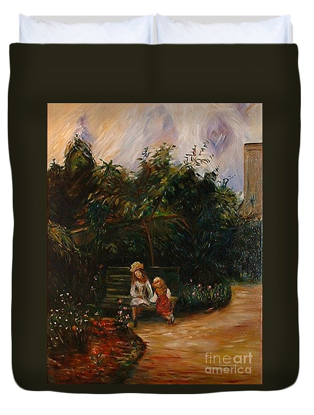 Classic Art Duvet Cover featuring the painting A Corner Of The Garden At The Hermitage by Silvana Abel