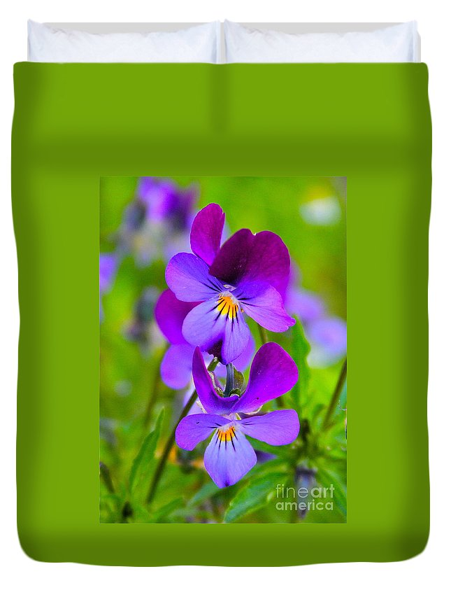 Flower Duvet Cover featuring the photograph A Couple Of Pansies by Rick Monyahan