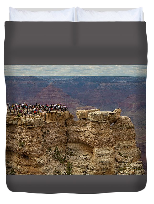 Grand Canyon Duvet Cover featuring the photograph A Crowd And A Canyon by Kathleen Odenthal
