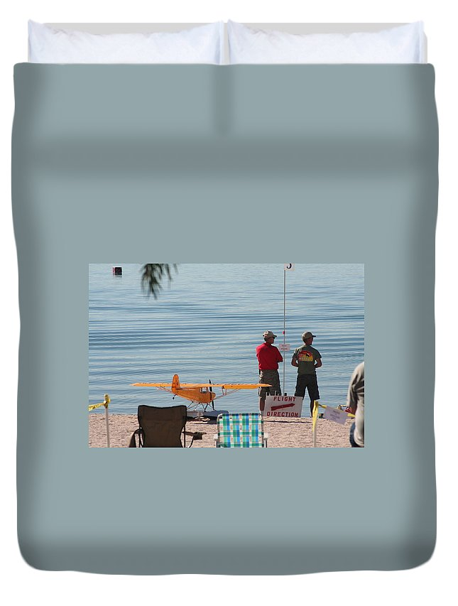 Airplane Duvet Cover featuring the photograph A Day At The Beach by David S Reynolds