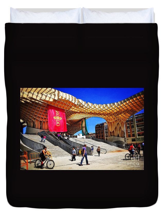 Duvet Cover featuring the photograph A Day At The Parasol Metropol by Mary Machare
