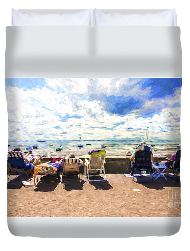 Seaside Duvet Cover featuring the photograph A day at the seafront by Sheila Smart Fine Art Photography