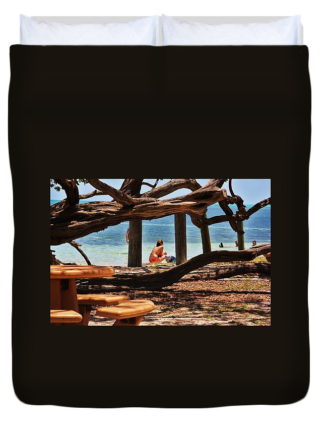 Florida Duvet Cover featuring the photograph a day in the Florida Keys by Chuck Hicks