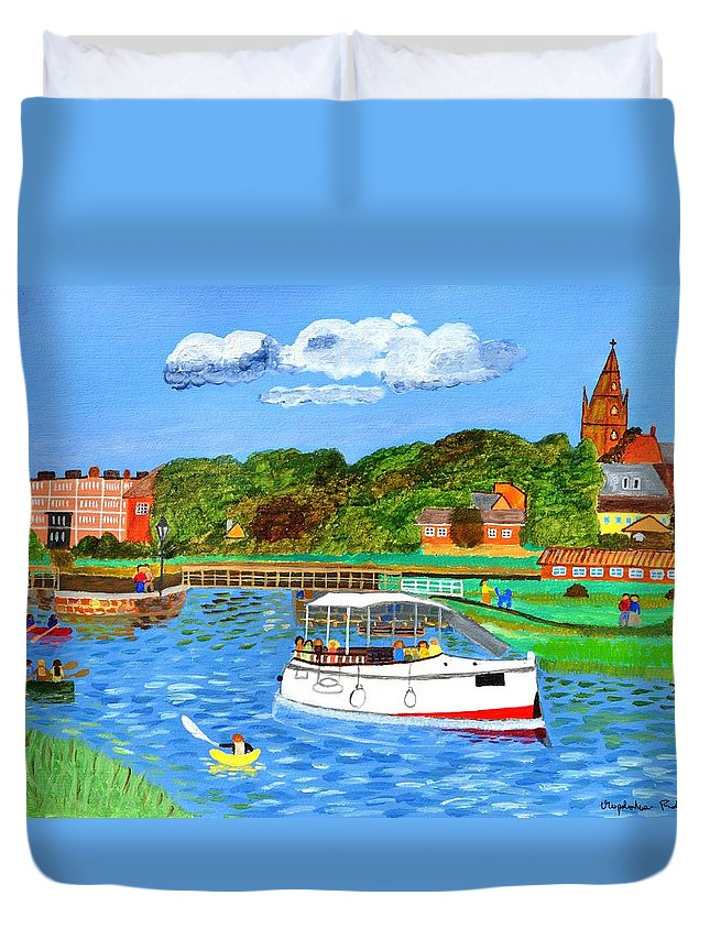 River Duvet Cover featuring the painting A Day On The River In Exeter by Magdalena Frohnsdorff