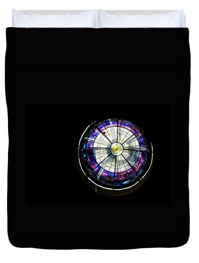 Abstract Duvet Cover featuring the photograph A Dazzling Stained Glass Gem Emerging From The Darkness by Georgia Mizuleva