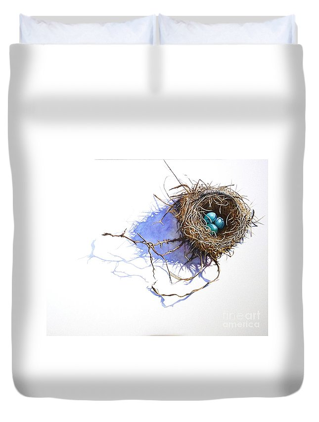Robin Duvet Cover featuring the painting A Delicate Balance by Greg and Linda Halom
