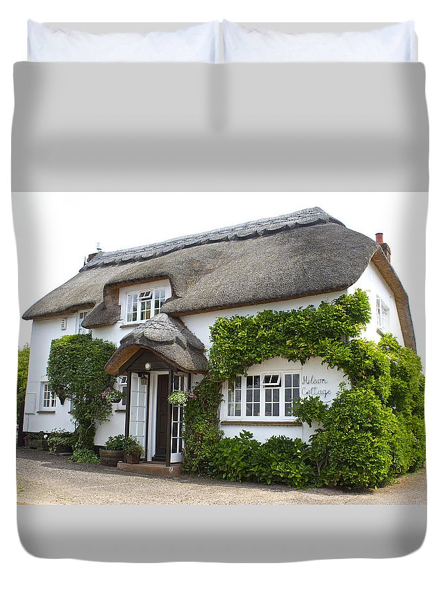 England Duvet Cover featuring the photograph A Devonshire Cottage by Venetia Featherstone-Witty