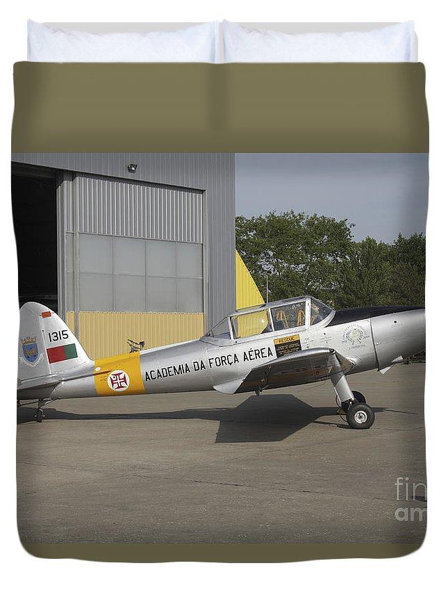 Aircraft Duvet Cover featuring the photograph A Dhc-1 Chipmunk Trainer Aircraft by Timm Ziegenthaler