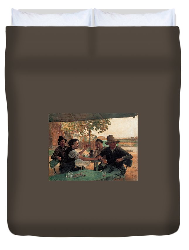 Emile Friant Duvet Cover featuring the digital art A Discussion In Politics by Emile Friant