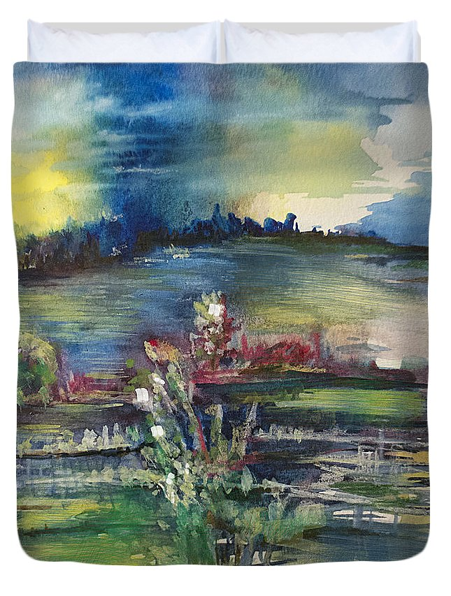 Thunder Duvet Cover featuring the painting A Distant Thunder by Allison Ashton