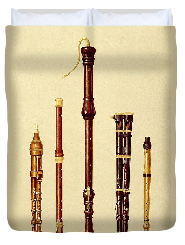 Woodwind Duvet Cover featuring the drawing A Double Flageolet, A German Flute by Alfred James Hipkins