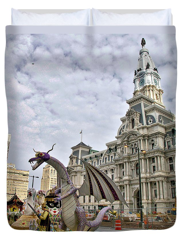 Mummer Duvet Cover featuring the photograph A Dragon In Philly by Alice Gipson