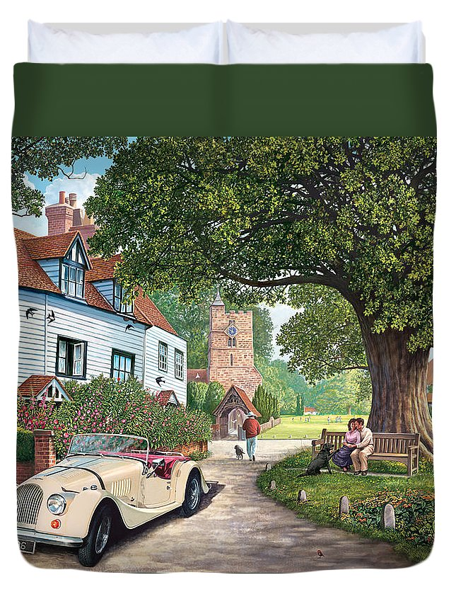 Countryside Duvet Cover featuring the photograph A Drive Out by Steve Crisp