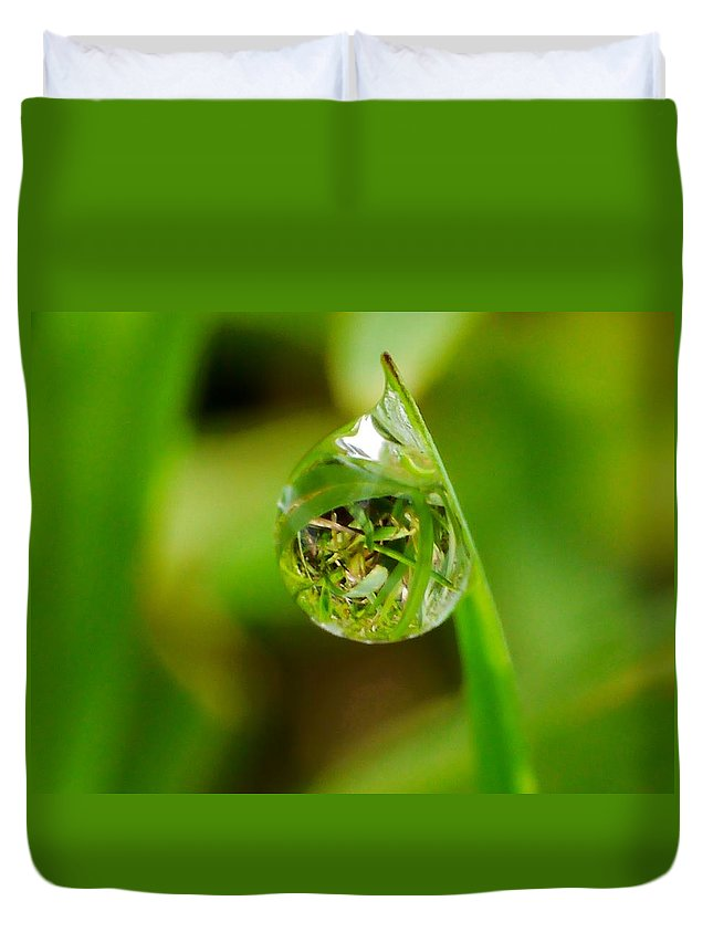 Blade Of Grass Duvet Cover featuring the photograph A Drop Of Water For Every Blade Of Grass by Anthony Walker Sr