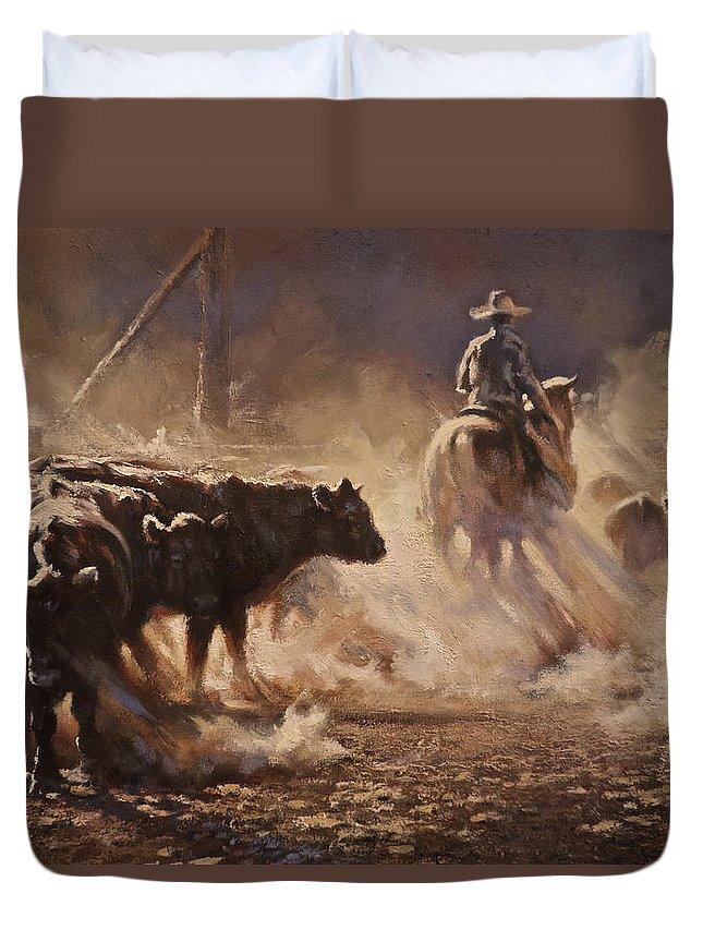 Cattle Duvet Cover featuring the painting A Dusty Sort by Mia DeLode