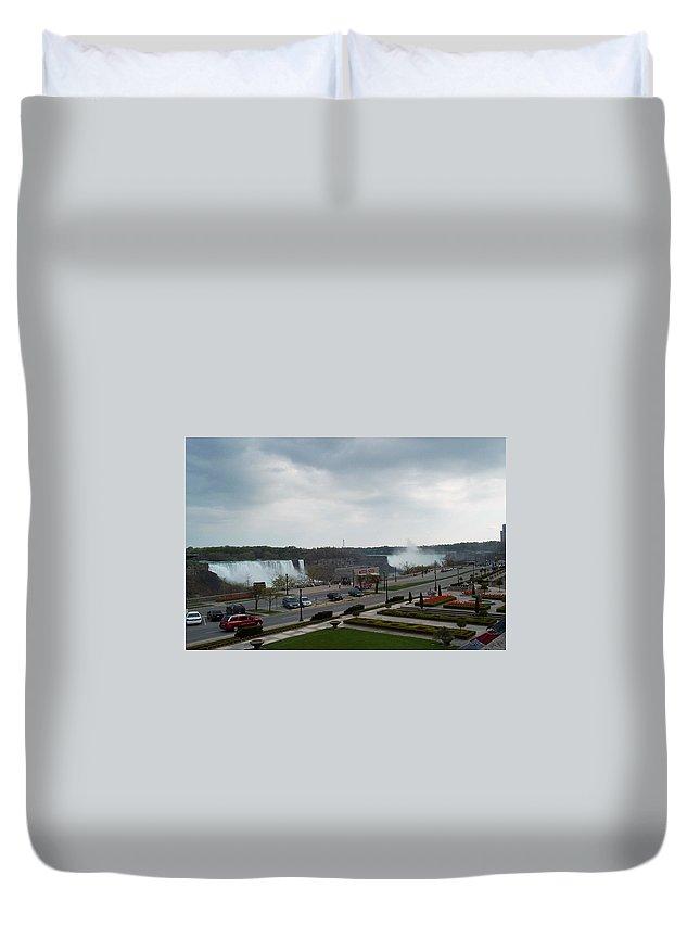 Niagara Falls Duvet Cover featuring the photograph A Favorite Walkway by Barbara McDevitt