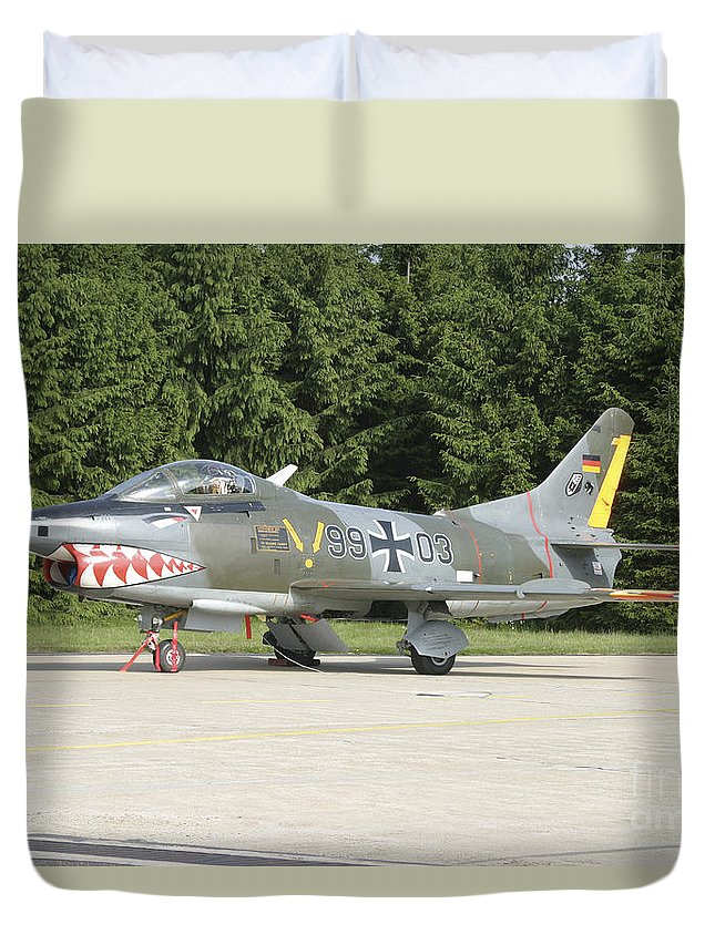 Aircraft Duvet Cover featuring the photograph A Fiat G-91 Fighter Plane Of The German by Timm Ziegenthaler