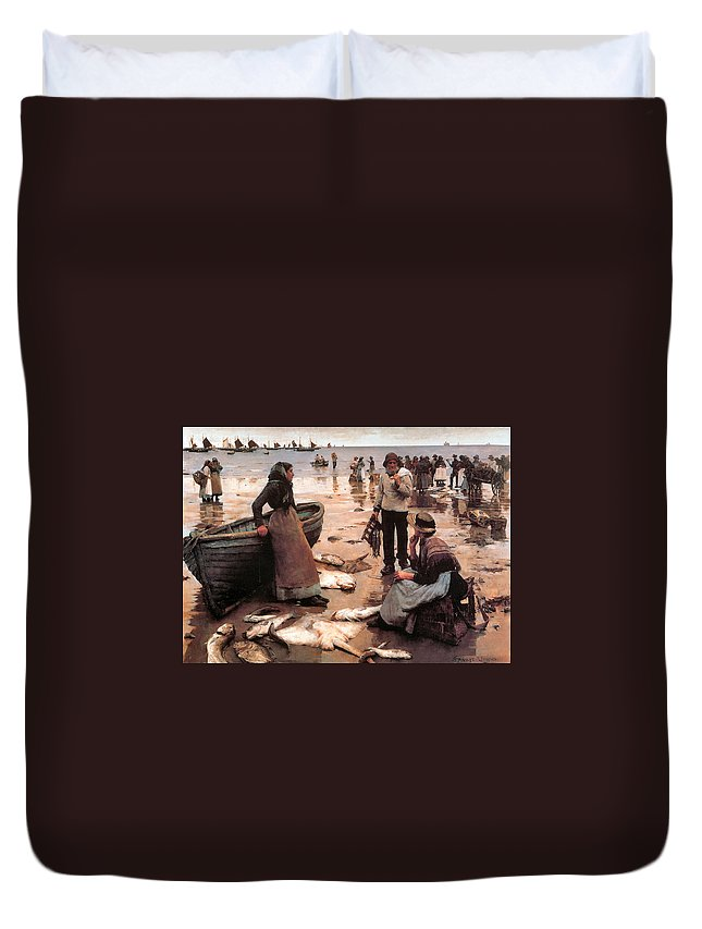Stanhope Alexander Forbes Duvet Cover featuring the digital art A Fish Sale On A Cornish Beach by Stanhope Alexander Forbes