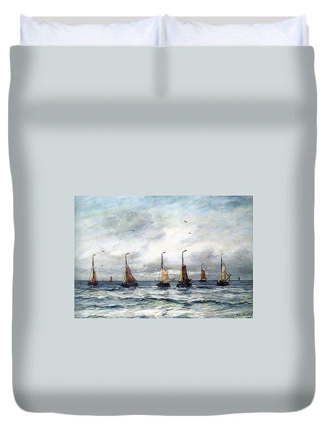 Hendrik Mesdag Willem Duvet Cover featuring the digital art A Fishing Fleet by Hendrik Willem Mesdag