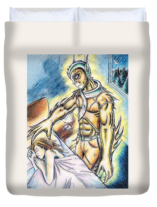 Fishy Duvet Cover featuring the painting A Fishy Being From Beyond by Shawn Dall