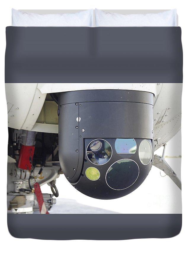 Horizontal Duvet Cover featuring the photograph A Flir Camera Mounted On An Eh101 by Timm Ziegenthaler