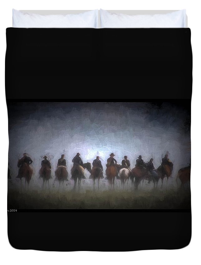 Civil War Duvet Cover featuring the digital art A Foggy Gettysburg Morning - Oil by Tommy Anderson