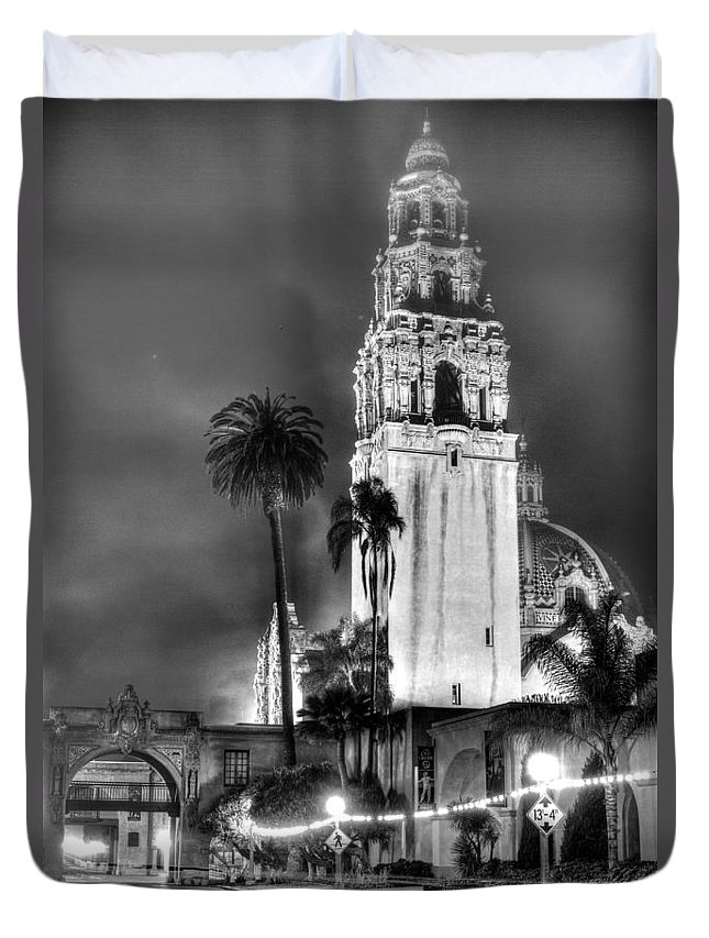 Balboa Park Duvet Cover featuring the photograph A Foggy Night On Balboa by Robert Nadel