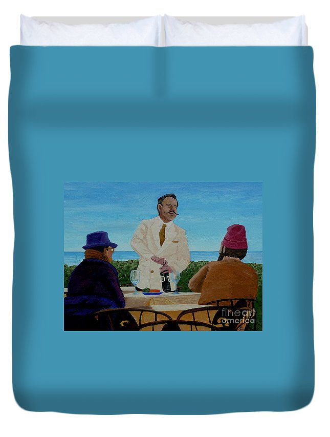 Wine Duvet Cover featuring the painting A Fresh Bottle by Anthony Dunphy