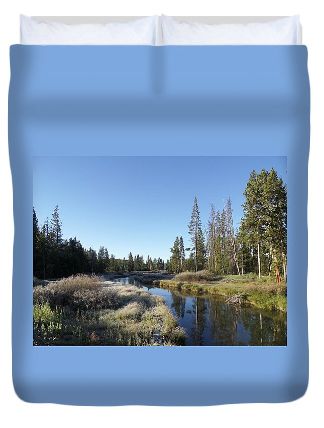 Blue Duvet Cover featuring the photograph A Frosty Morning Along Obsidian Creek by Frank Madia