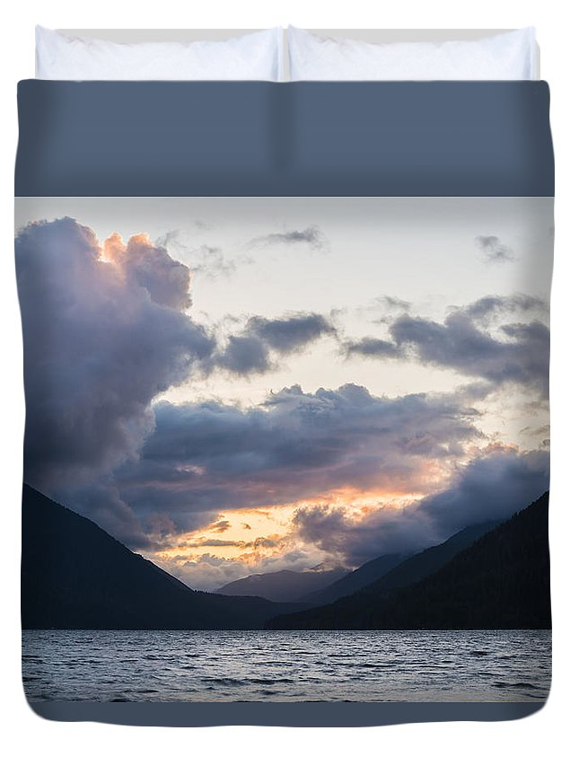 Lake Crescent Duvet Cover featuring the photograph A Gathering by Kristopher Schoenleber