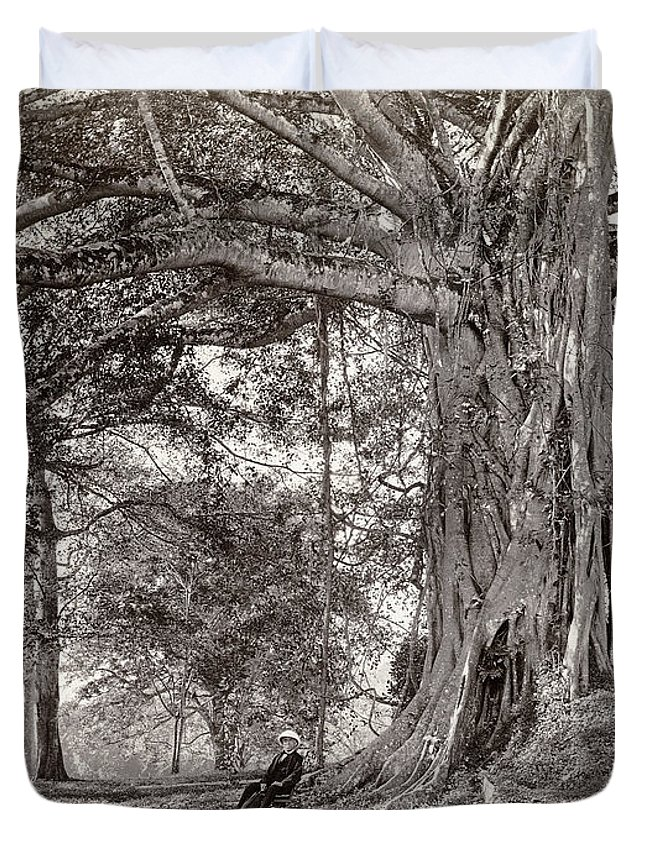Sri Lanka Duvet Cover featuring the photograph A Gentleman Sitting Beneath A Large Native Tree In British Ceylon by Scowen and Co
