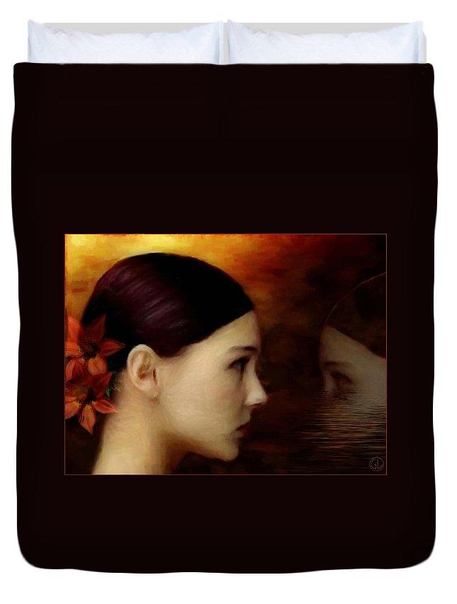 Woman Duvet Cover featuring the digital art A Glimpse Inside by Gun Legler
