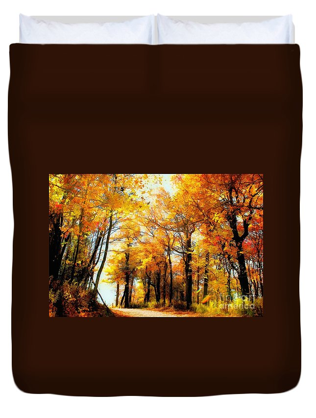 Autumn Leaves Duvet Cover featuring the photograph A Golden Day by Lois Bryan