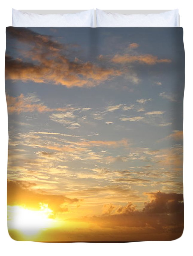 Sunrise Duvet Cover featuring the photograph A Golden Sunrise - Singer Island by Christiane Schulze Art And Photography