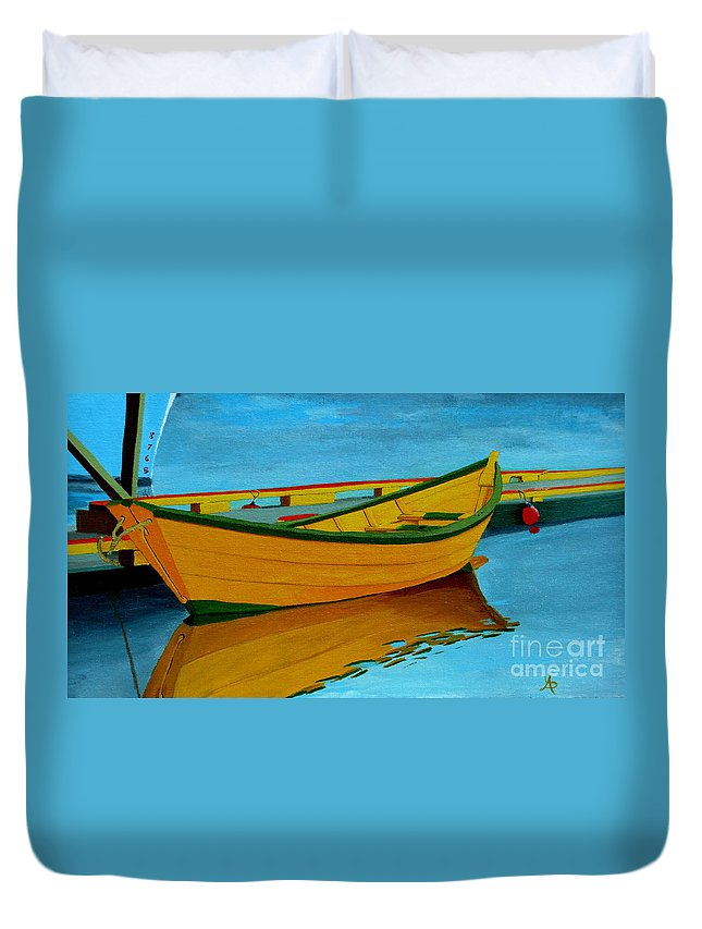 Grand Banks Duvet Cover featuring the painting A Grand Banks Dory by Anthony Dunphy