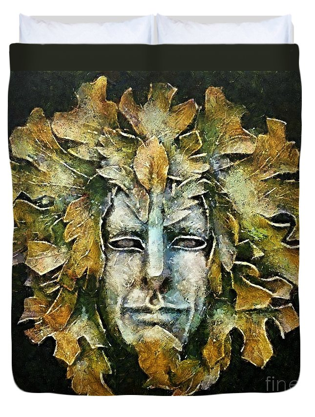 Venetian Carnival Mask Duvet Cover featuring the painting A Green Man by Dragica Micki Fortuna
