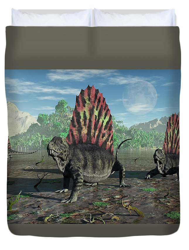 Horizontal Duvet Cover featuring the photograph A Group Of Sail-backed Dimetrodons by Mark Stevenson
