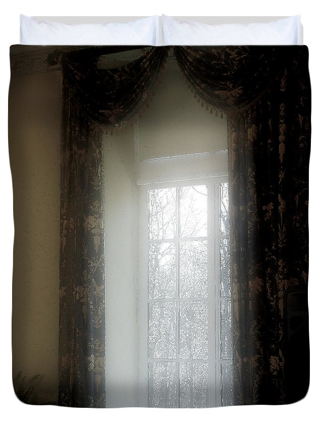 Curtains Duvet Cover featuring the painting A Hazy Shade Of Winter by RC DeWinter