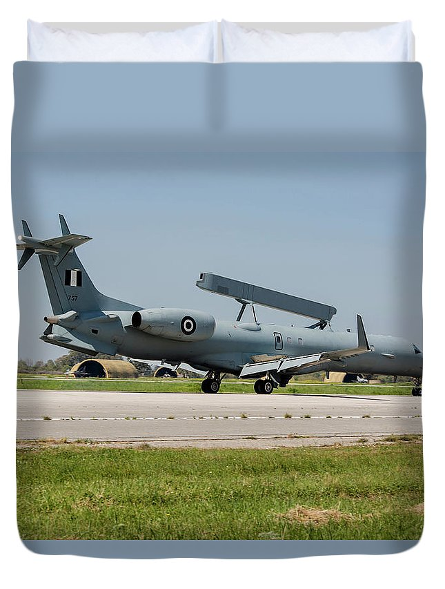 Greece Duvet Cover featuring the photograph A Hellenic Air Force Emb-145 Awacs by Timm Ziegenthaler