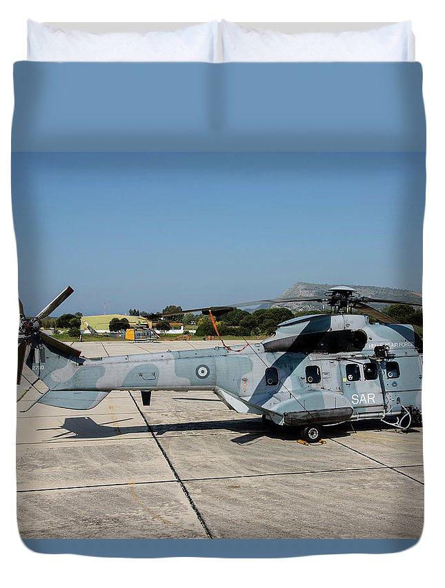 Greece Duvet Cover featuring the photograph A Hellenic Air Force Super Puma Search by Timm Ziegenthaler