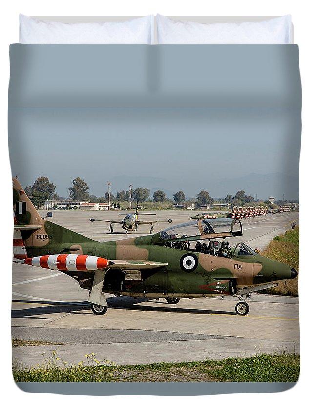 Greece Duvet Cover featuring the photograph A Hellenic Air Force T-2 Buckeye by Timm Ziegenthaler