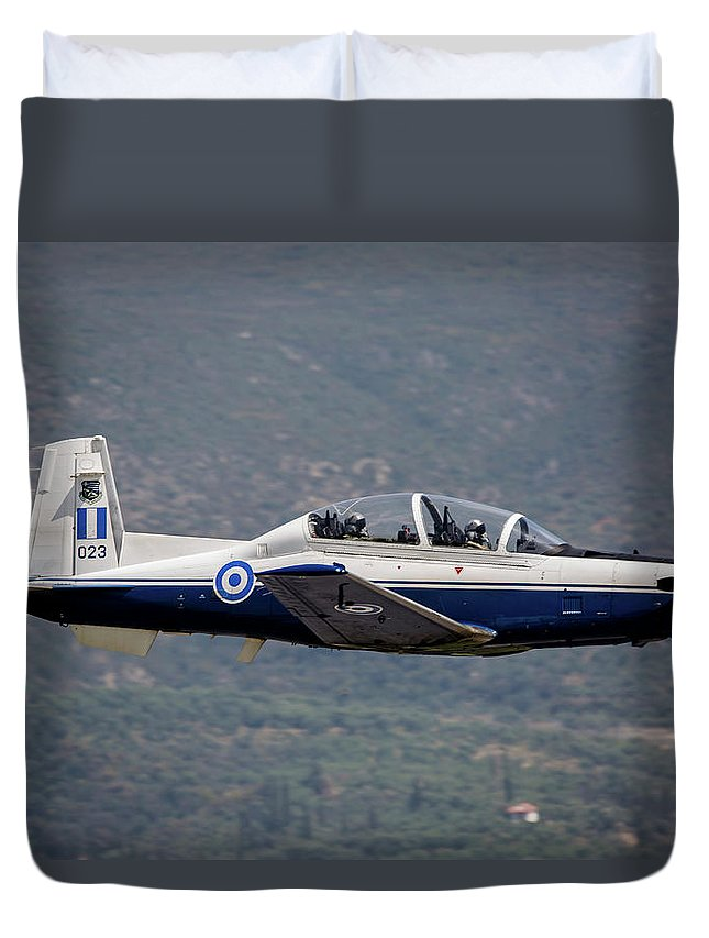 Greece Duvet Cover featuring the photograph A Hellenic Air Force T-6 Trainer Flying by Timm Ziegenthaler