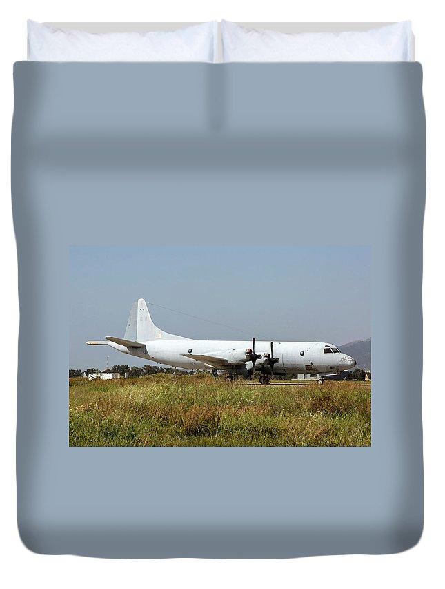 Greece Duvet Cover featuring the photograph A Hellenic Navy P-3 Orion Aew Aircraft by Timm Ziegenthaler