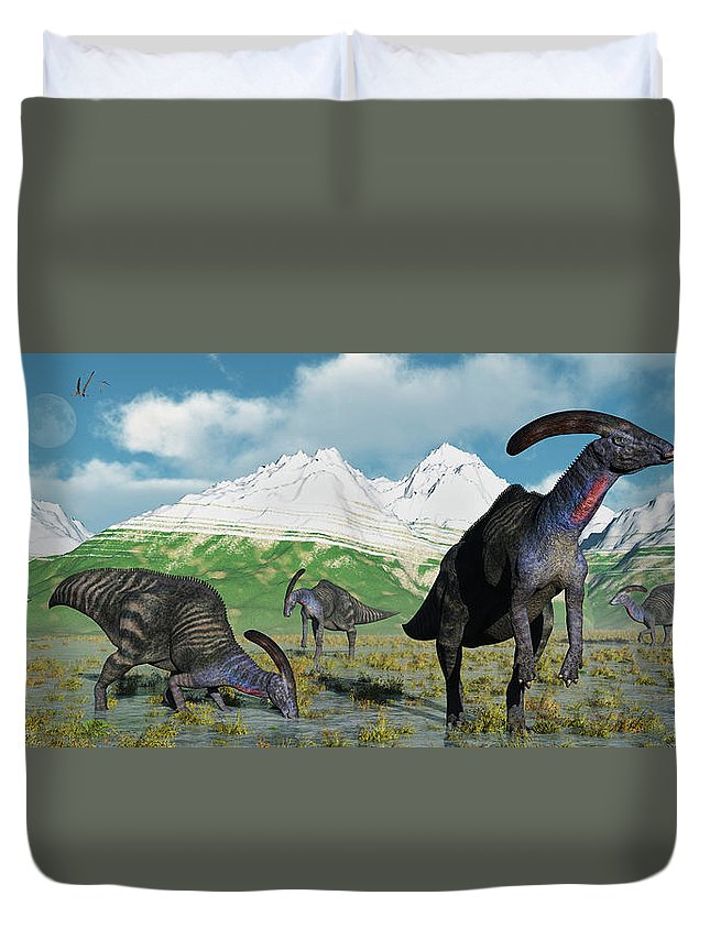 Horizontal Duvet Cover featuring the photograph A Herd Of Parasaurolophus Dinosaurs by Mark Stevenson