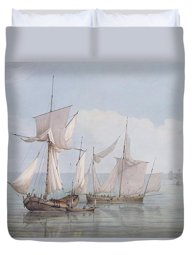 Boat Duvet Cover featuring the painting A Hoy And A Lugger With Other Shipping On A Calm Sea by John Thomas Serres